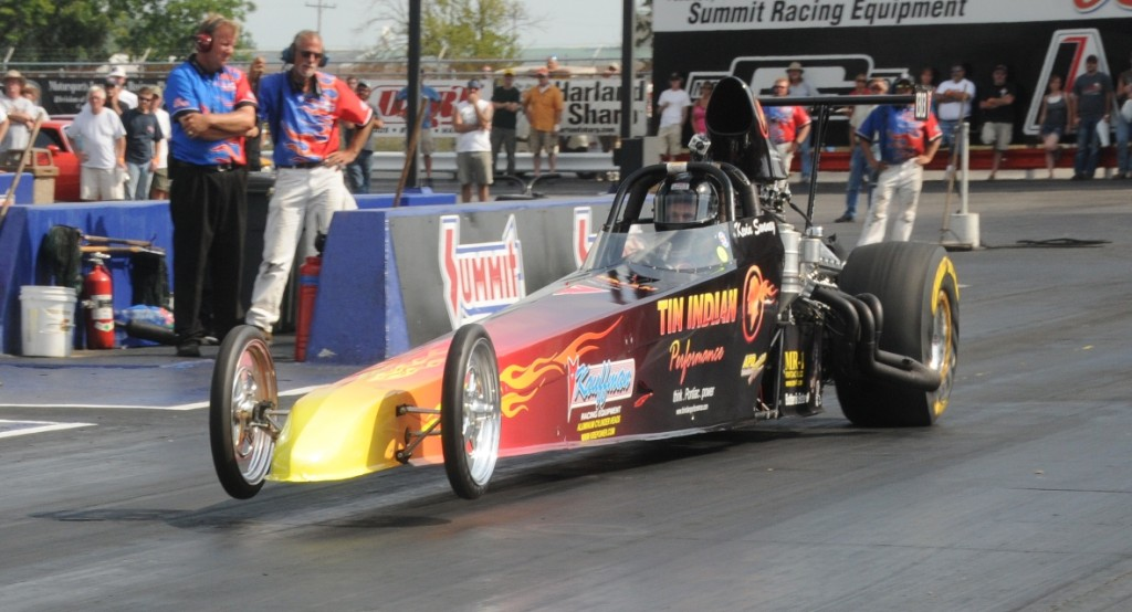 Kevin Swaney Tin Indian Performance Pontiac Powered Dragster wheels up launch