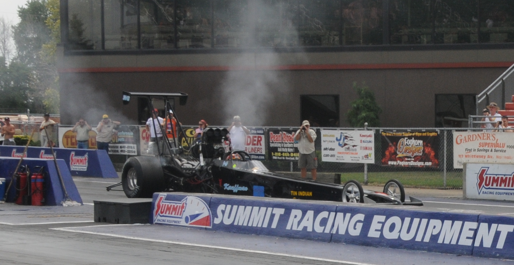Jeff Kauffman blown rear engine dragster ready to launch at Norwalk 2011