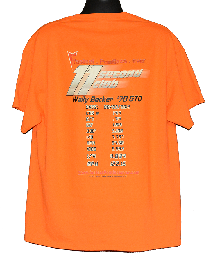 Pontiac T shirt 11 second club orange back