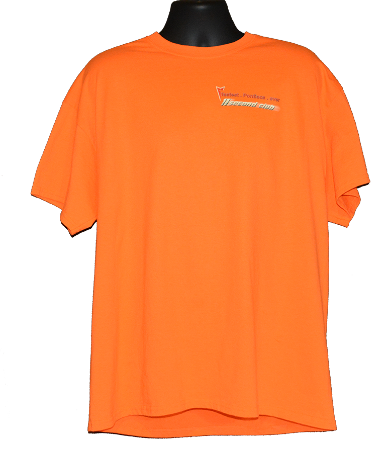 Pontiac T shirt 11 second club orange front