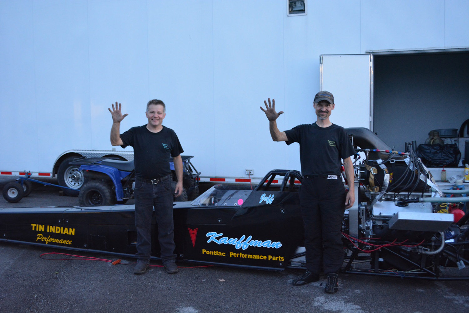 Jeff and Mark Kauffman after the first 5 second Pontiac pass