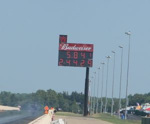 Jeff Kauffman 5.841 at 244.29 mph score board shot